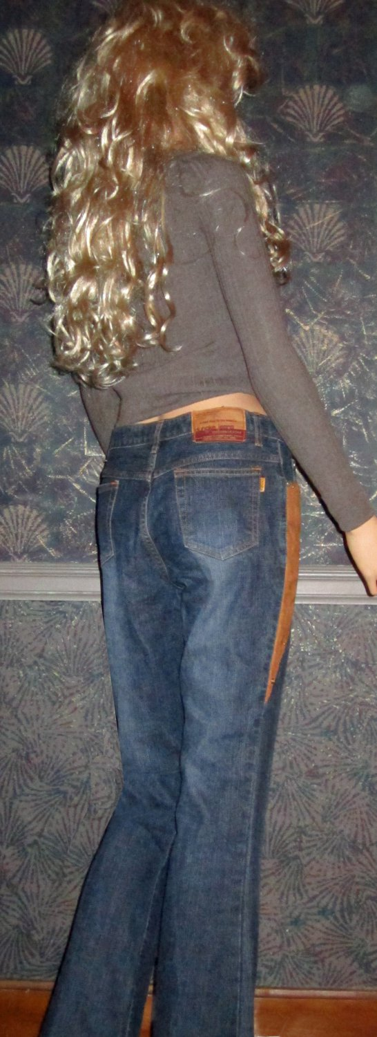 Dungka $80 Chaps Style Ranch Rider Denim Jeans 28 7396