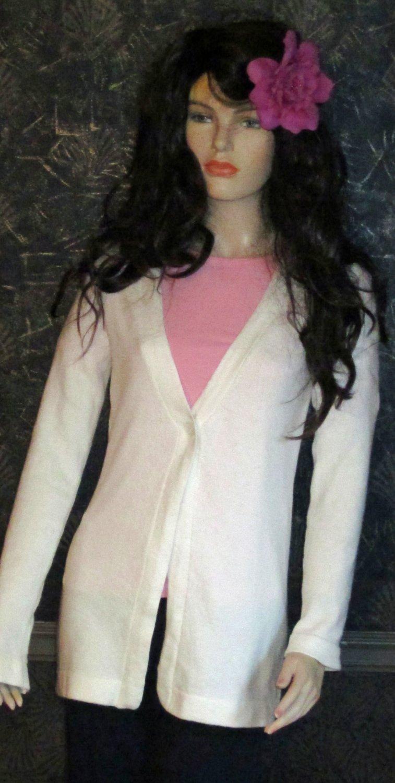 Victoria's Secret $70 White V-Neck Long Cardigan Sweater Medium  292480