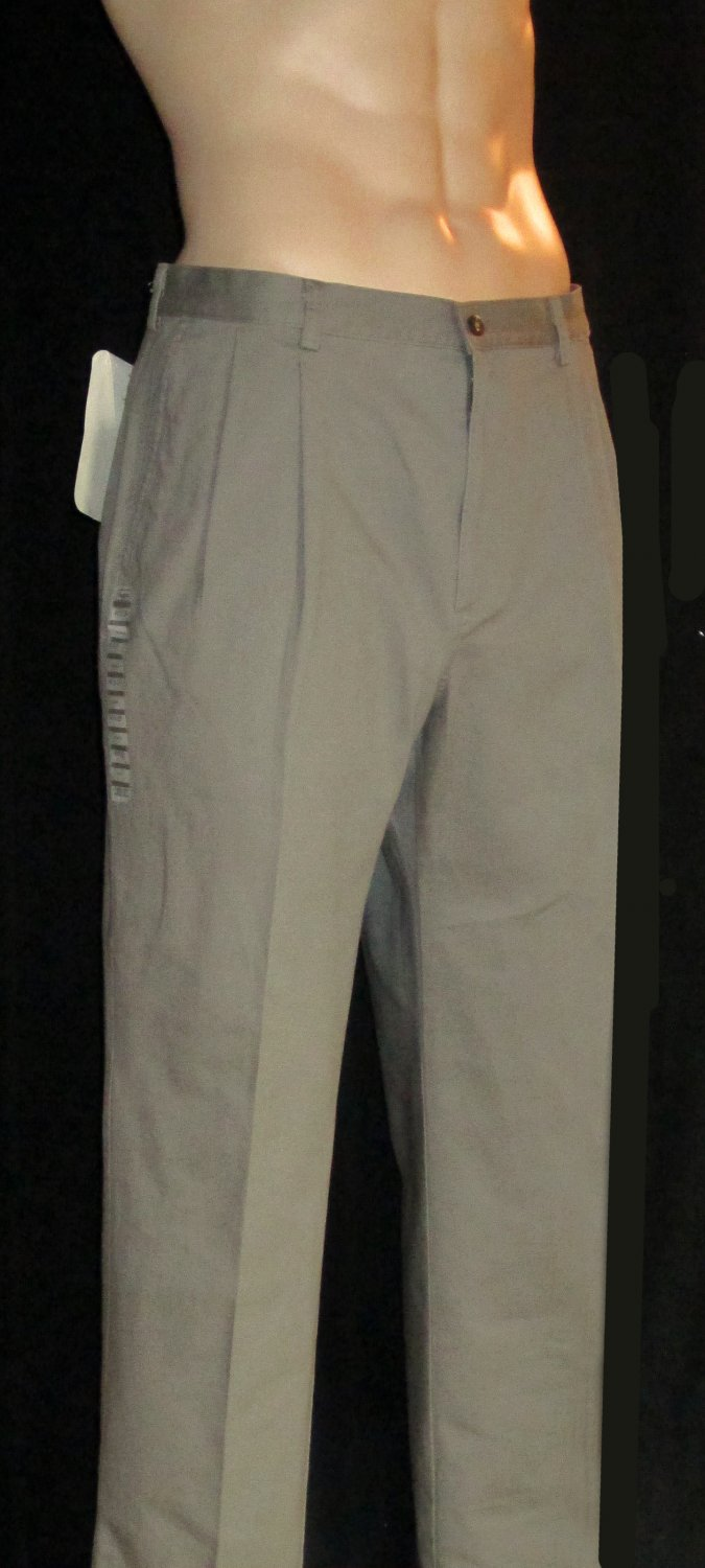 Haggar $65 Premium Pleated Cotton Khaki Classic Fit Pants 40 x 29 249239