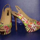 Victoria's Secret $198 Report Signature White Multi Floral Slingback Pumps Size 8.5  281040