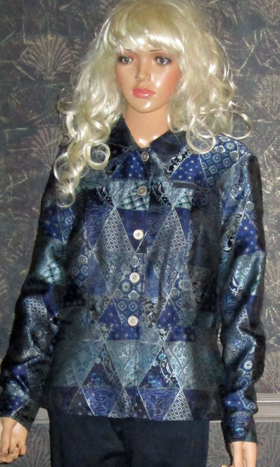 Coldwater Creek $180 Blue Metallic Print Jacket Blazer Medium  a1305