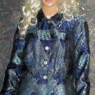 Coldwater Creek $180 Blue Metallic Print Jacket Blazer Medium  a1305