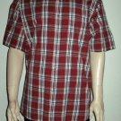 Arrow $50 Cotton Red Plaid Short Sleeve Dress Shirt XL 36543