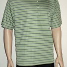 Greg Norman Play Dry $59 Men's Green Striped Polo Golf Shirt Large 69421