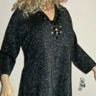 JM Collection $65 Black Lurex Embellished Rhinestone Long Sweater XL 90333