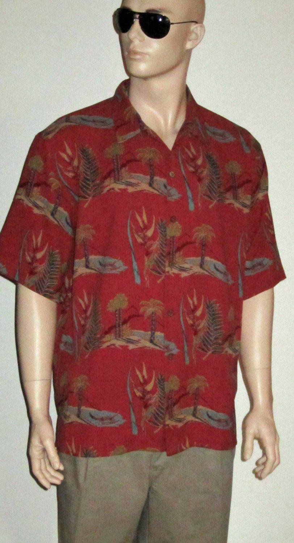 Pusser's Island Style $98 Men's 100% Silk Print Red Hawaiian Shirt Large 106523
