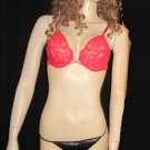 Victoria's Secret $65 Red Lace Underwire 36B Bra Intimissimi Panty Set  711448