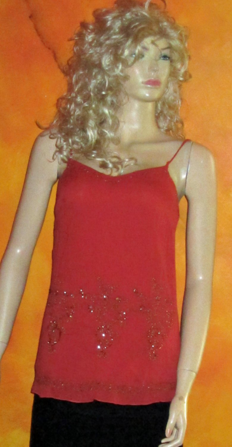 Maurices Sequin Burnt Orange Gauze Long Cami Tank Top Small 51783