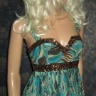 NWT Arden B. $98 Beaded Sequin Turquoise Print Silk Sleeveless Top Small 243257