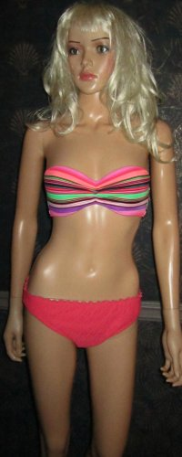 Victoria's Secret Orange Coral Bandeau Push-Up Bikini 34C Large 277658 moss
