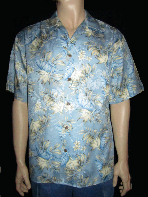 Jos. A. Bank  $110 Men's 100% Silk Light Blue Print Hawaiian Shirt Large 31608