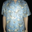 Jos. A. Bank  $110 Men's 100% Silk Light Blue Print Hawaiian Shirt Large 31608