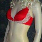 Victoria's Secret $83 Incredible Push-Up Front Close Racerback Red 34D Bra Set 294335
