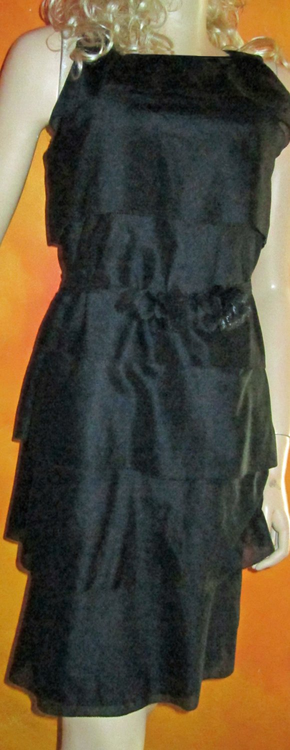 NWT Talbots $159 Black Sleeveless Tiered Flounce Dress 12P  239970