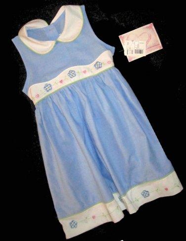 NWT Youngland $55 Girls Pale Blue & White Trim Dress 6  85697
