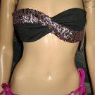Victoria's Secret Embellished Rio Black & Purple Sequin Bikini 34B Small 290028 277379