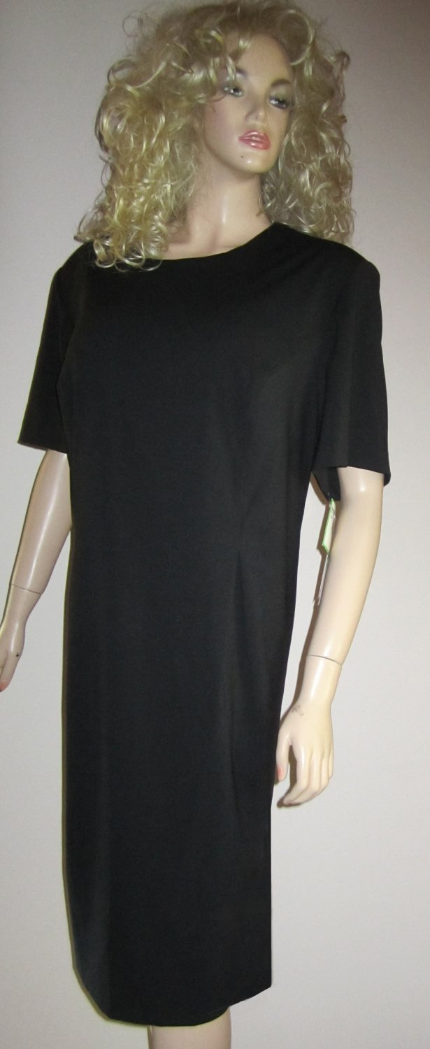 NWT Leslie Fay $98 Black Short Sleeve Scoop Neck Dress 24WP  720059