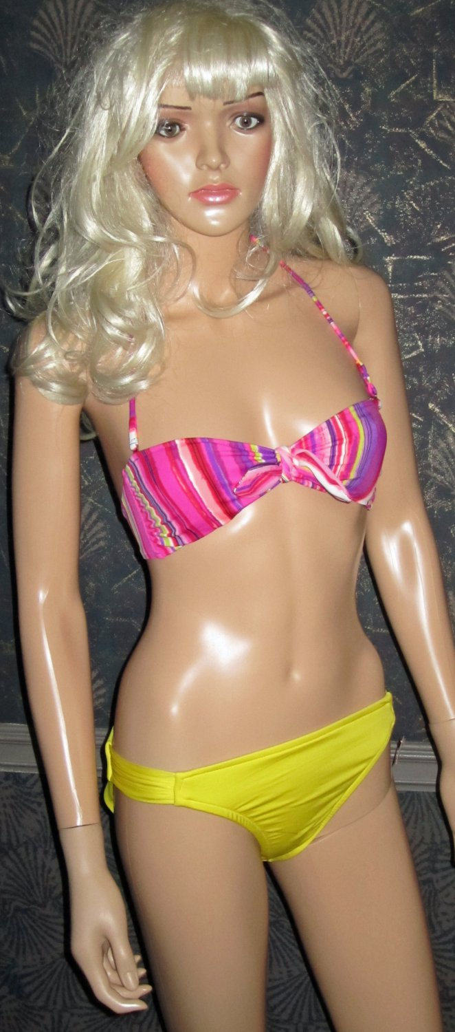 Victoria's Secret Push-Up Sexy Hot Pink & Yellow Bandeau Bikini XS Small  267109