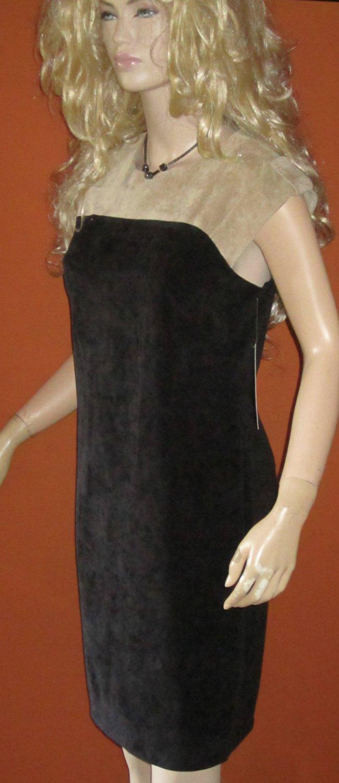 NWT Sharagano $79 Beige & Black Narrow Wale Corduroy Short Sleeve Dress 6 103715