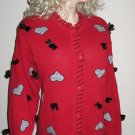 NWT C.S.T. Studio Women's Designer Plus Size Christmas Red Cardigan Sweater 1X 980417