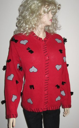 NWT C.S.T. Studio Women's Designer Plus Size Christmas Red Cardigan Sweater 1X 980417