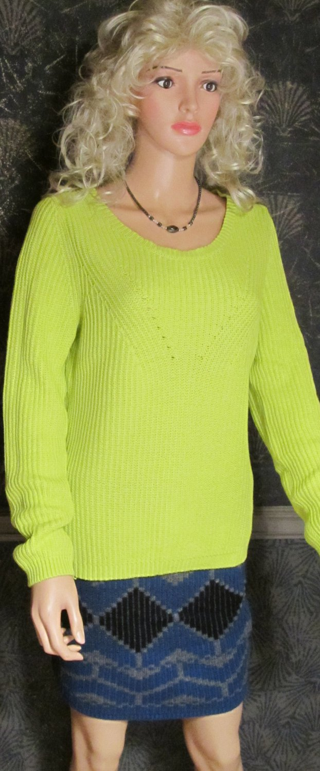 Victoria's Secret $70 Bright Green Ribbed Cotton Pullover Sweater Large 295384
