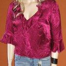 A.B.S. Allen Schwartz $120 Pink Magenta Ruffled Shirt Blouse Medium 68648