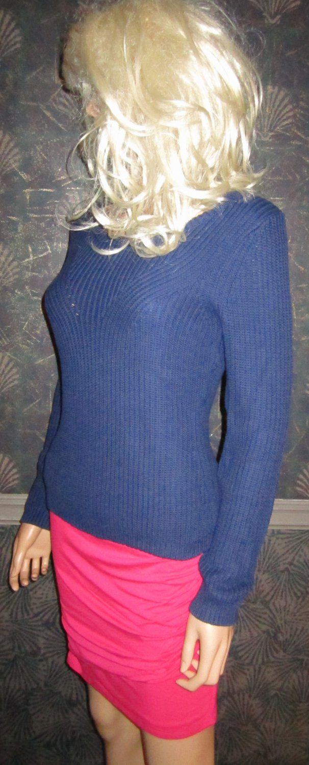 Victoria's Secret $70 Cotton Ribbed Navy Blue Pullover Sweater XS 295384 na