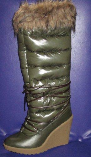 NIB Victoria's Secret $158 Olive Green Fur Cuff Wedge Boots 9 291869