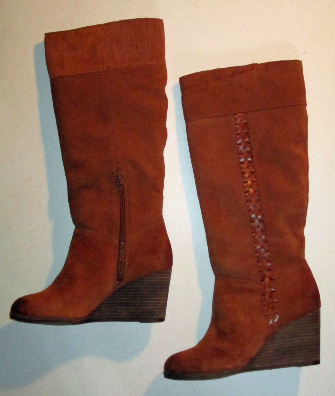 NIB Lucky Brand $239 Tall Wedge Brown Suede Boots 7  292498