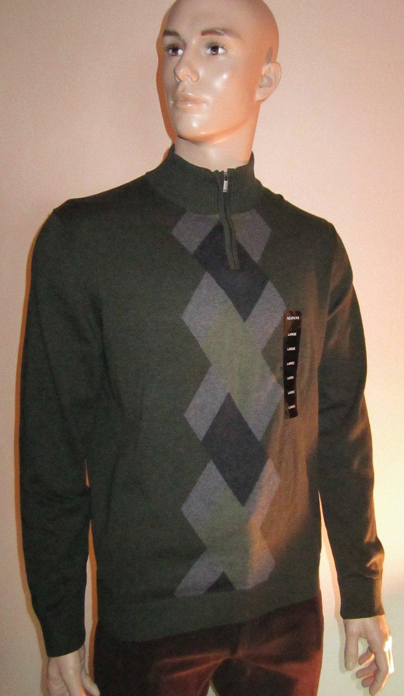NWT Alfani $115 Men's Zip Mock Turtleneck Argyle Green Sweater Large  33004