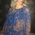 Victoria's Secret $70 Blue Floral Long Sleeve Peasant Blouse Medium 272036