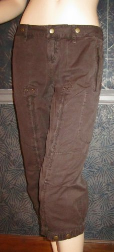 Victoria's Secret $60 Brass Embellished Brown Cropped Pants size 2  201040