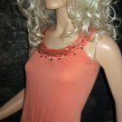Victoria's Secret Licorice Orange Coral Beaded Sleeveless Tank Top XS 197874