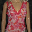Maidenform $45 Pink & Red Print Cami Panty Babydoll Set Small Medium 55989