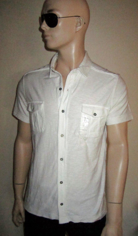NWT Calvin Klein $80 Men's White Cotton Casual Short Sleeve Shirt Large 102552