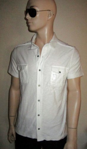 NWT Calvin Klein $80 Men's White Cotton Casual Short Sleeve Shirt Large 102552