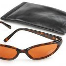 Kenneth Cole Reaction Oval Tortoise Shell Sunglasses With Soft Black Monogrammed Case 001405