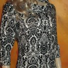 NWT Ann Taylor $59.99 Black & White Paisley 3/4 Sleeve Top Large  309468
