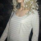 NWT Ann Taylor $45 Long Sleeve Silver Beaded Beige Top Medium 319996 Ann Taylor
