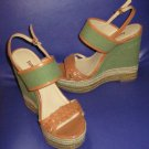 NIB Luxury Rebel $148 Green Leather Canvas Platform Espadrille Sandals 8.5  283028