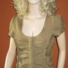 Victoria's Secret $48 Ruched Short Sleeve Taupe Brown Blouse Top Small 265180