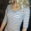 Victoria's Secret $38 Kiss Blue & White Elbow Length Sleeve Top Medium 267149