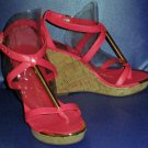 NIB Dolce Vita $98 Pink Coral T Strap Wedge Sandals 6 297715 297121