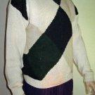 NWT Haggar $80 Cotton Cream Argyle Cotton Blend Crew Sweater Large 52963