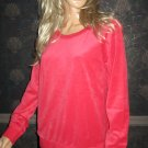 Victoria's Secret $50 Red Velour Sweatshirt Top Medium Large  309622