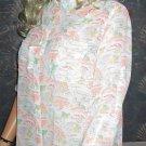 Victoria's Secret $78 2 Pocket White Print Long Shirt MEdium Small 296684