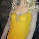 Victoria's Secret $60 Yellow & Gray Long Sleeve Henley Top Medium  304535