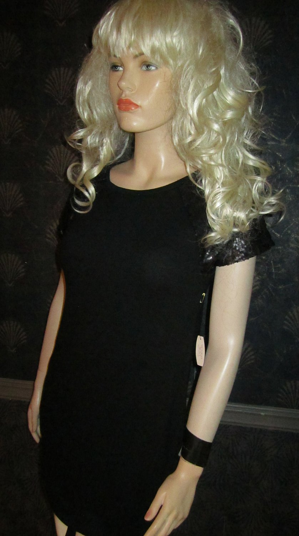 nwt Victoria's Secret $68 Sequin Short Sleeve Black Tunic Top Sweater XS 306521