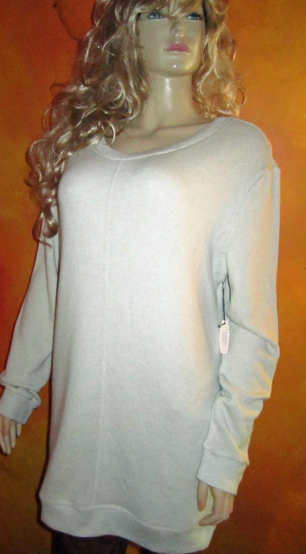 Victoria's Secret $88 Button Back Gray Terry Fleece Tunic Sweatshirt Medium 302696 302969